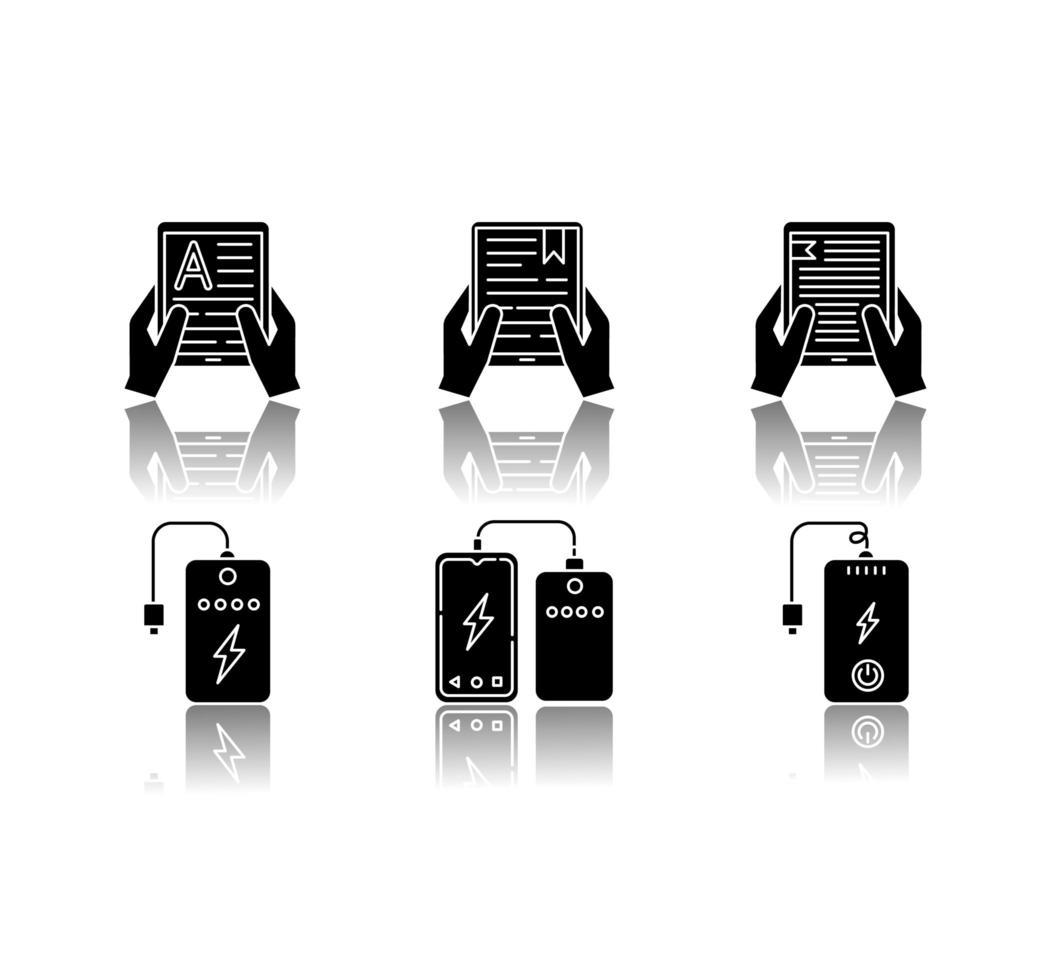 tragbare elektronische Geräte schwarze Glyphen Symbole gesetzt. vektor