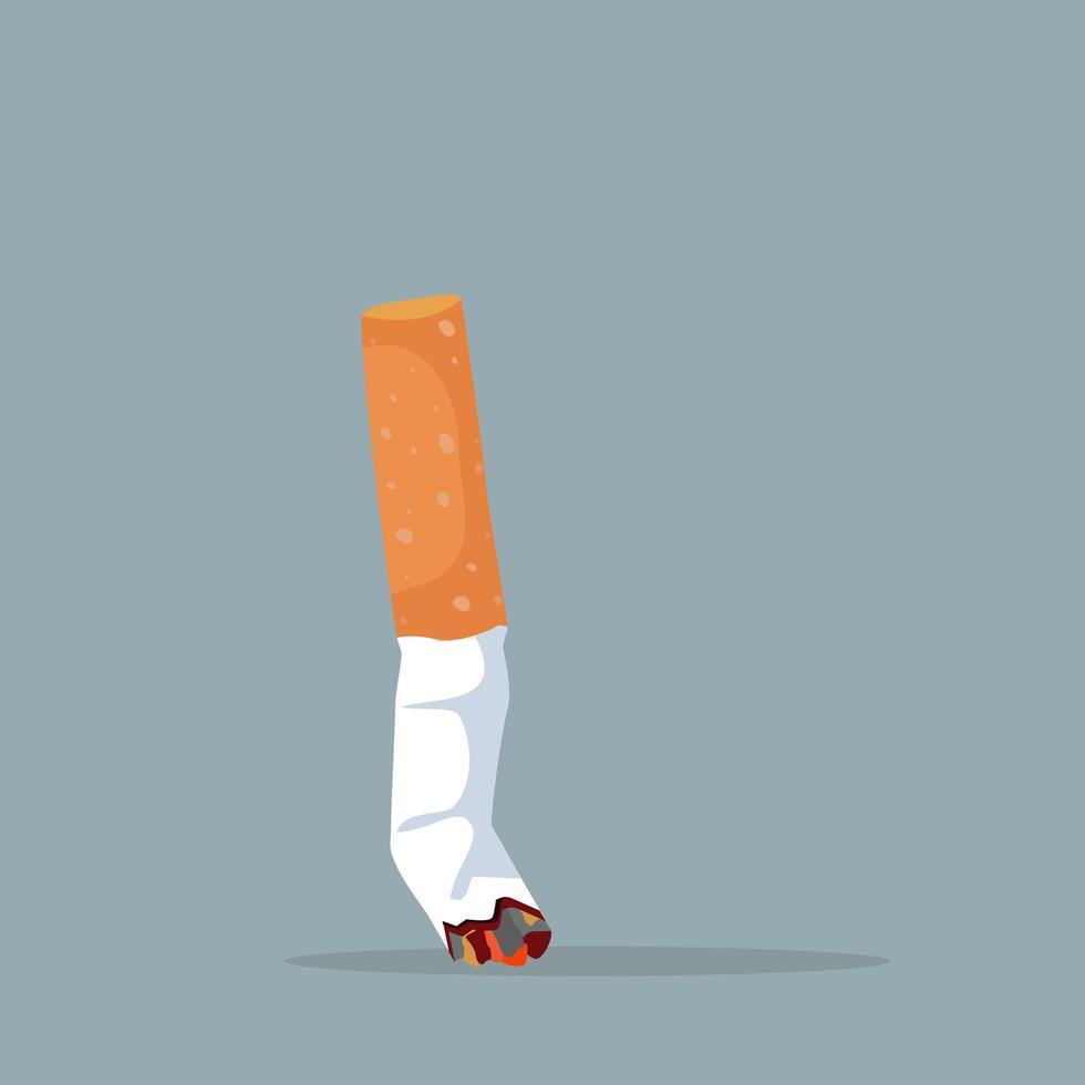 krossad cigarettstump, slutar koncept vektor