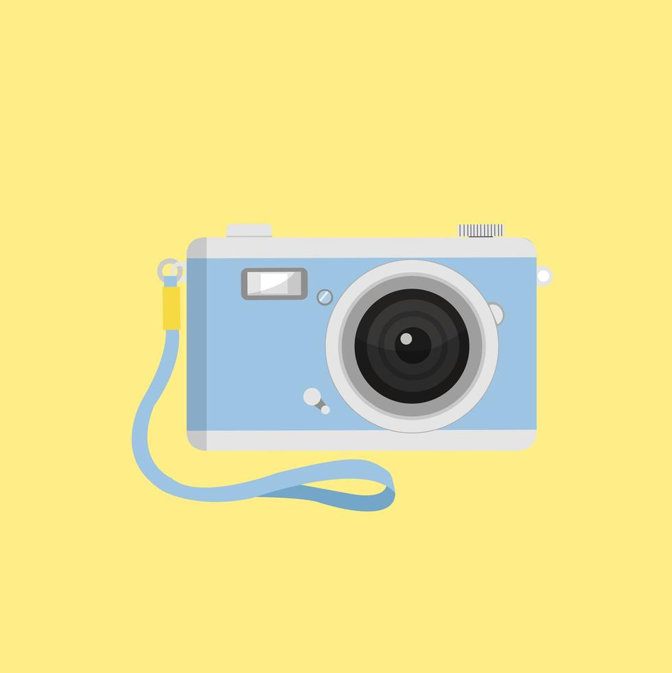 blå kamera med ett band vektor