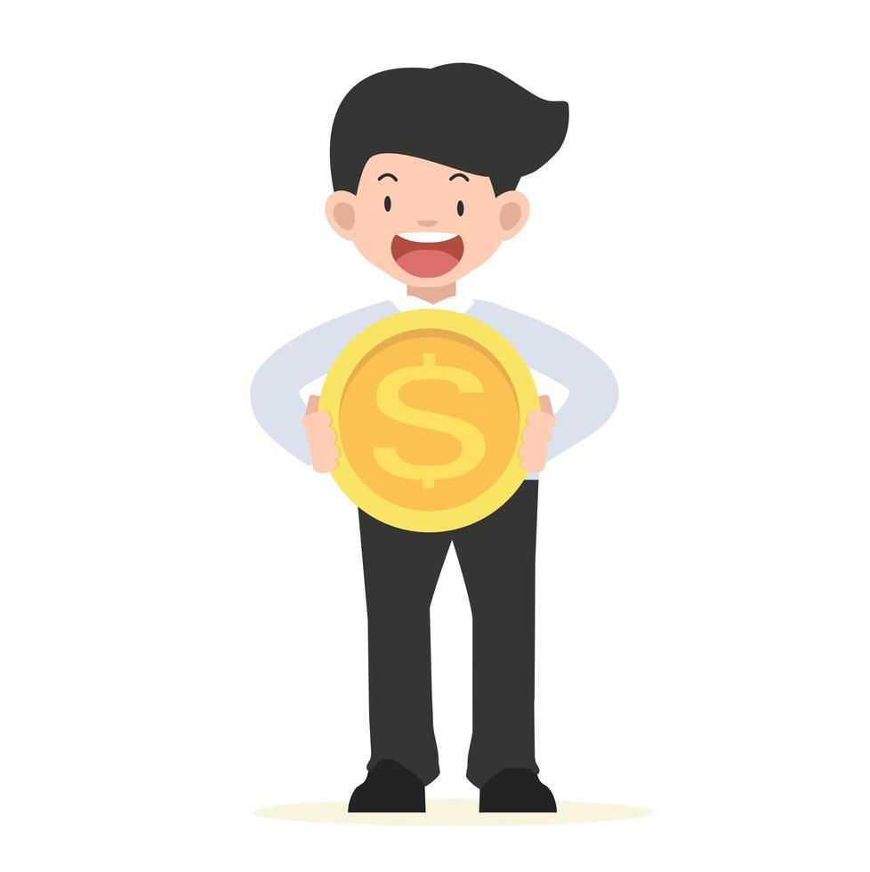 glad affärsman som innehar ett stort guldmynt vektor