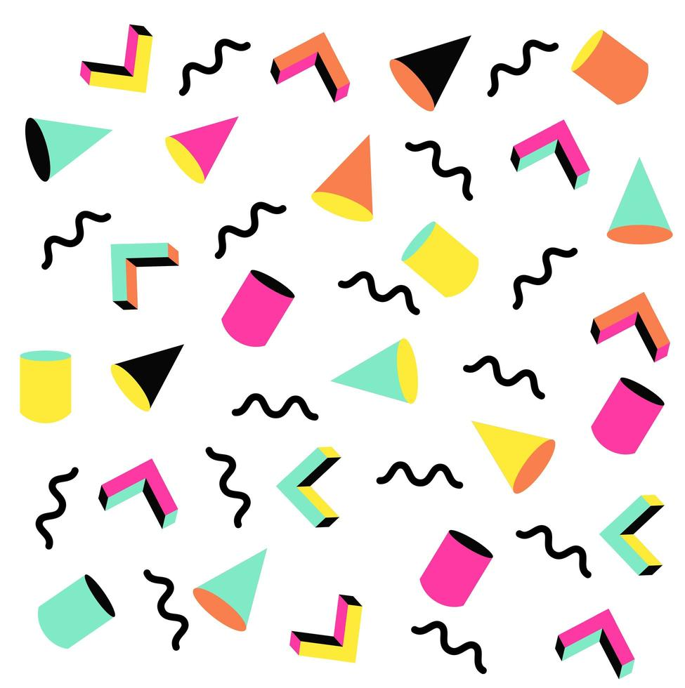 färgglada memphis mönster vektor