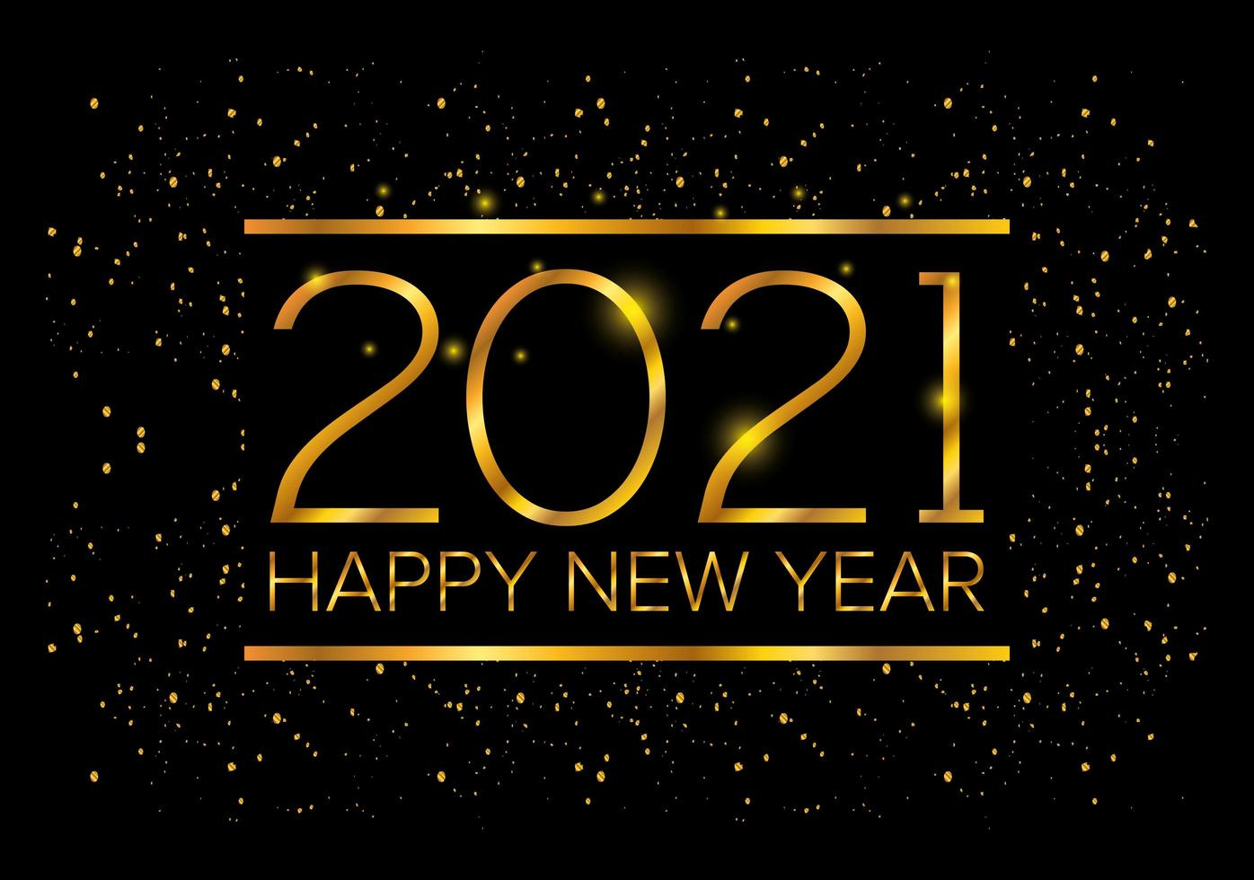 gott nytt år, 2021 gyllene affisch firande vektor