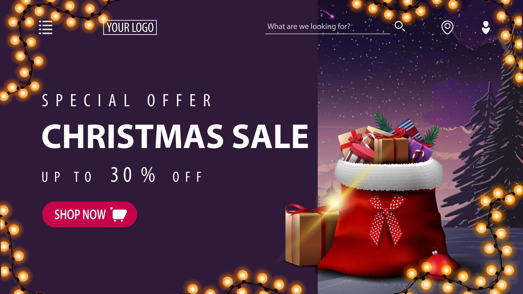 Weihnachtsrabatt Banner für Website mit Winterlandschaft vektor