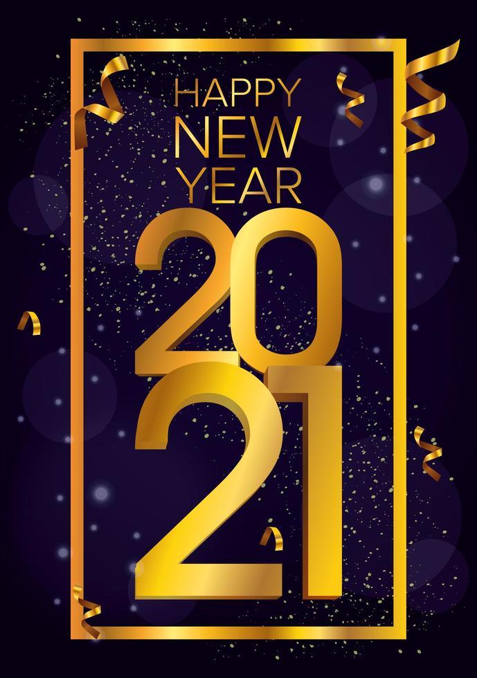 Frohes neues Jahr, 2021 goldene Plakatfeier vektor