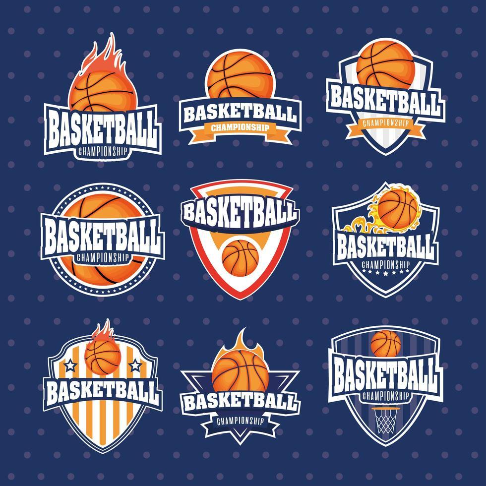 Basketball Meisterschaft Sport Emblem Set vektor