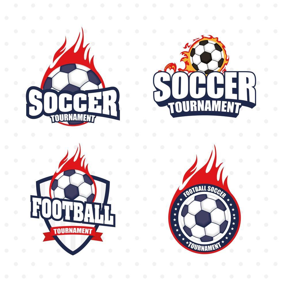 Fußball Fußball Sport Emblem Icon Set vektor