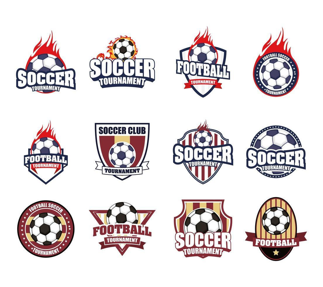 fotboll fotboll sport emblem Ikonuppsättning vektor