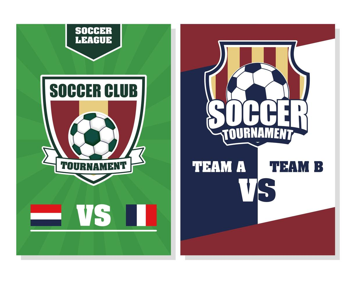 fotboll fotboll sport turnering affisch med boll vektor