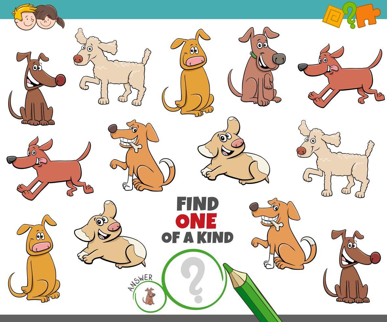 en unik uppgift för barn med hundar vektor