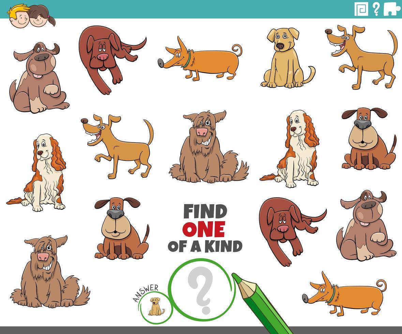 Eine einzigartige Aufgabe für Kinder mit Hunden vektor