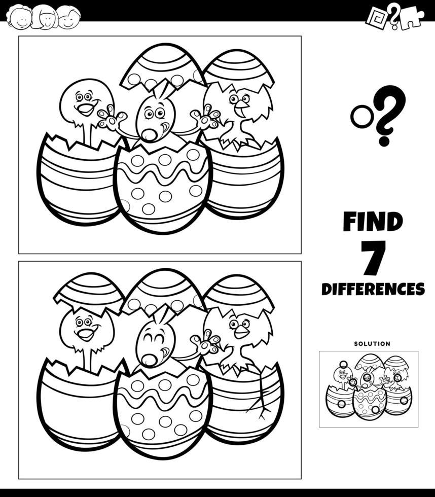 skillnader färgläggningsspel med tecknade påskkaraktärer vektor