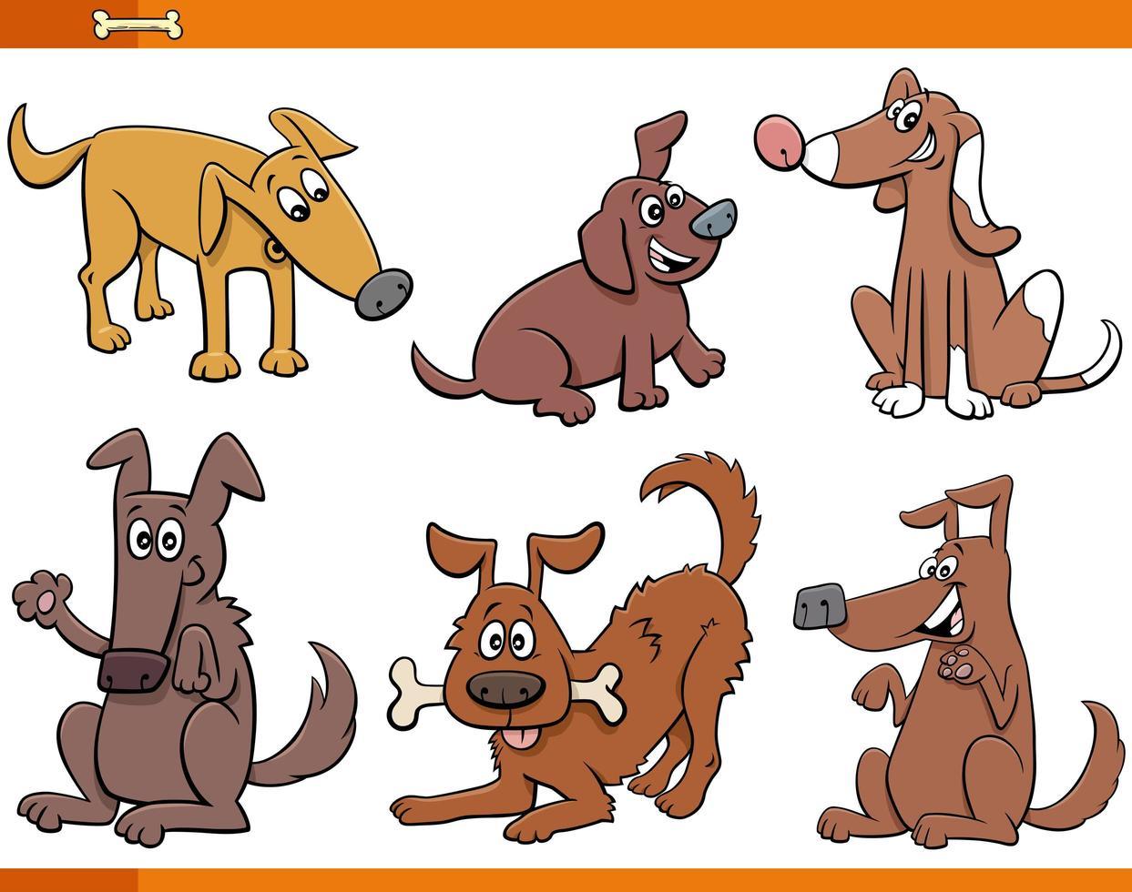 tecknade hundar och valpar djur karaktärer uppsättning vektor