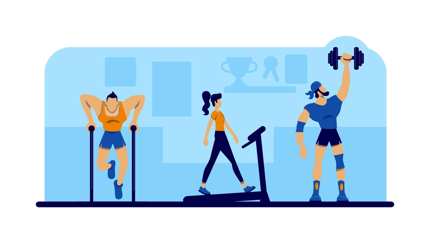 gym träning med utrustning vektor