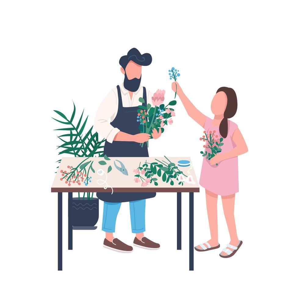 far blomsterhandlare med dotter vektor