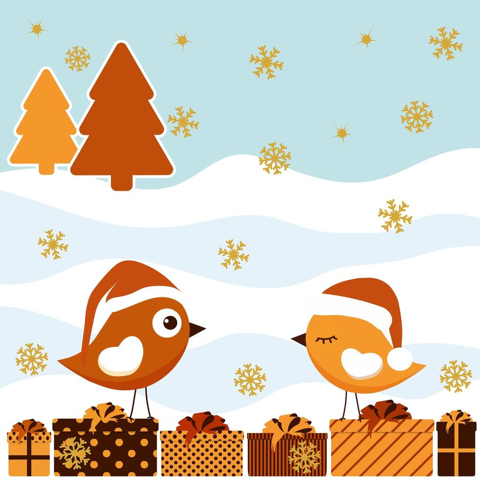 vinterkort med fågel och presentask vektor