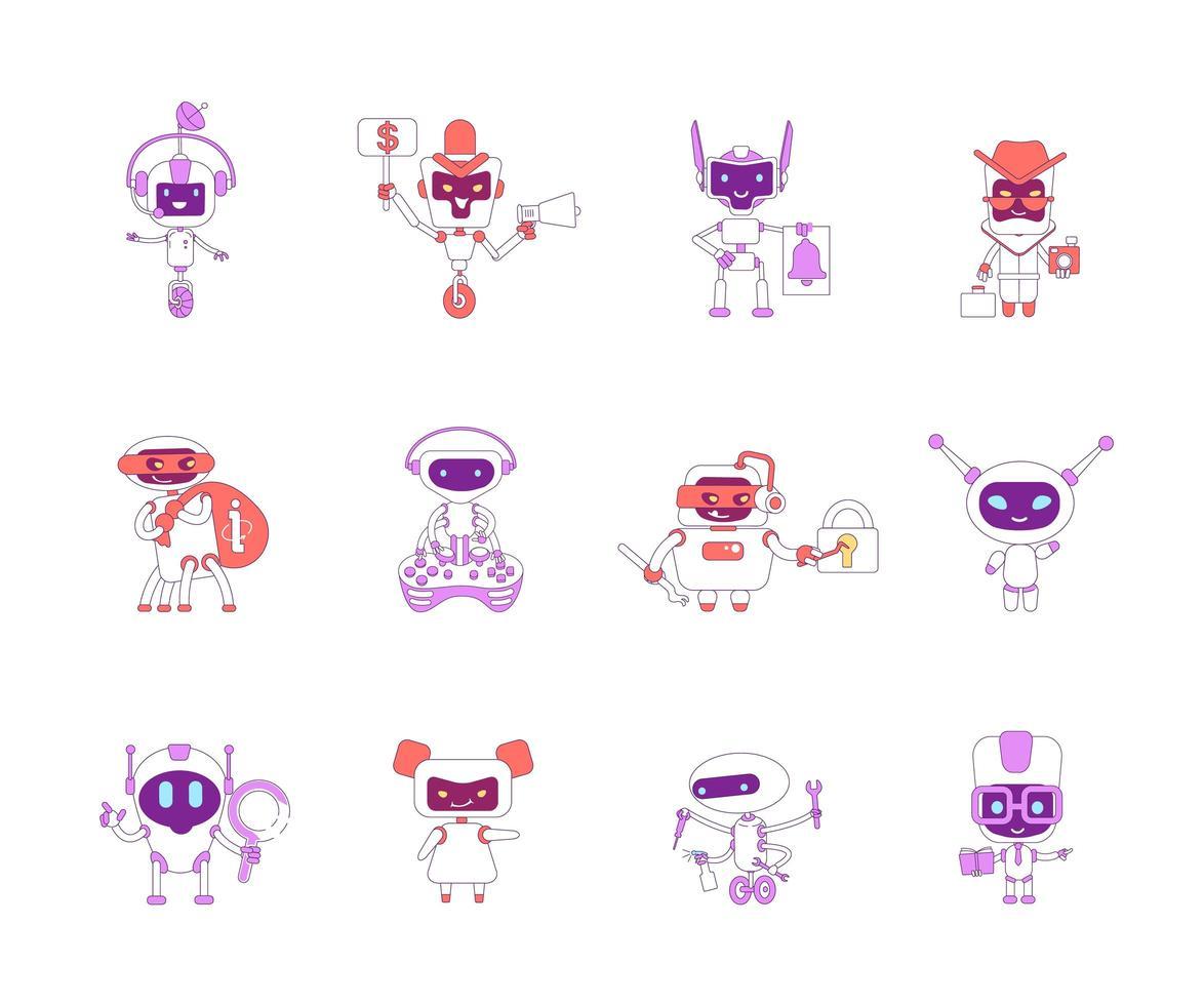 robotar röda och violetta linjära objekt set vektor
