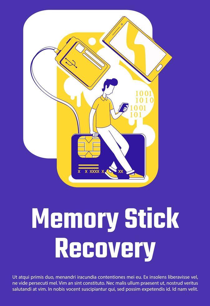 Memory Stick-återställningsaffisch vektor