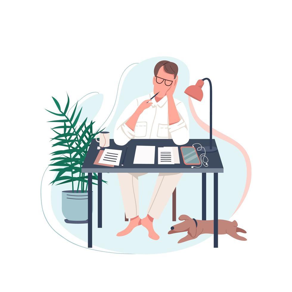 freiberuflicher Schriftsteller am Schreibtisch vektor