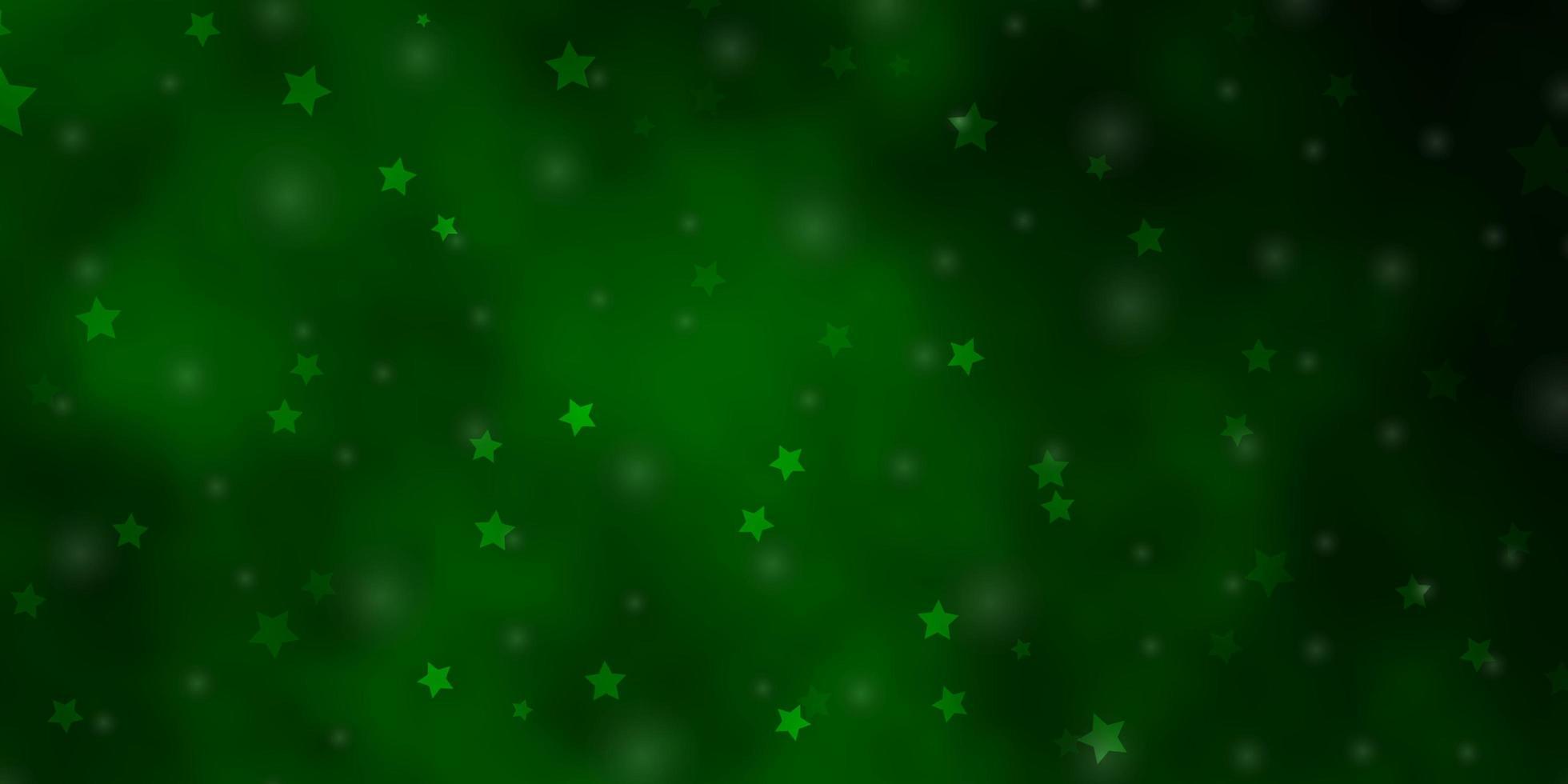 grüner Hintergrund mit bunten Sternen. vektor