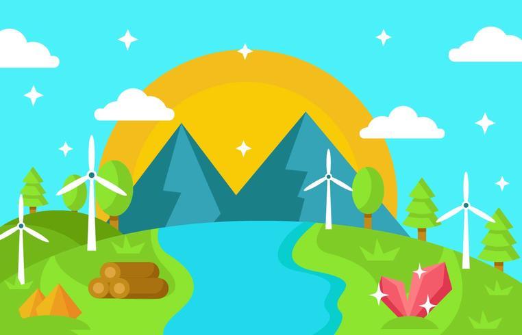 Gestalten Sie Natur mit Ressourcen, Wasser, Windkraftanlage-Vektor landschaftlich vektor