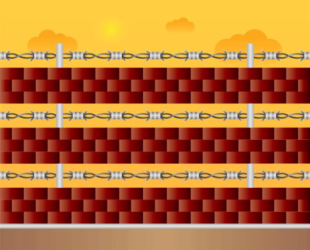 Brick Wall mit Stacheldraht vektor