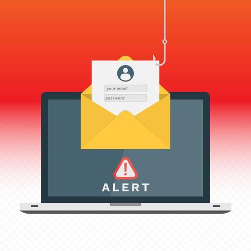 Phishing durch E-Mail, die Internet-Konzept-Illustration spoofing vektor