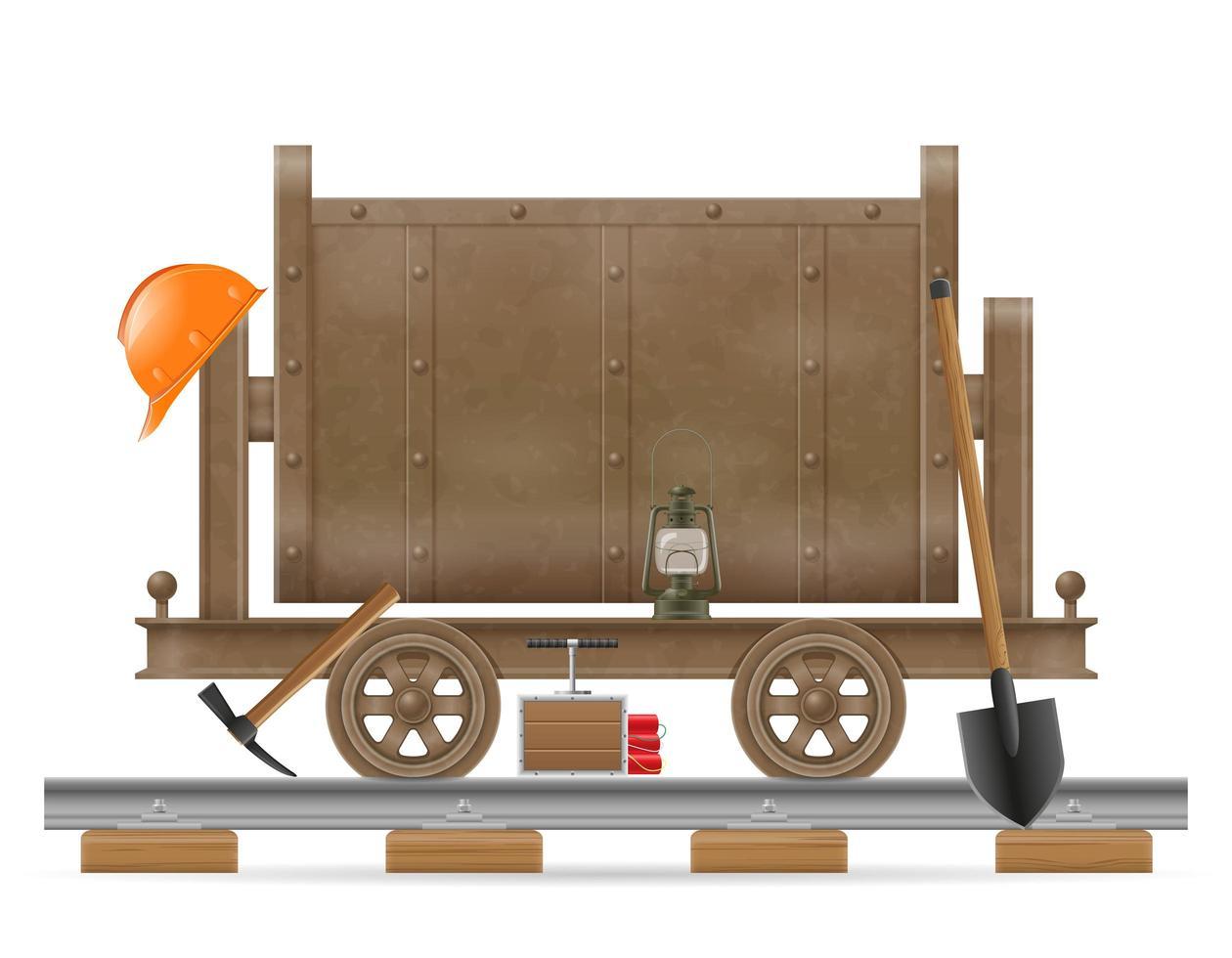 gruvvagn med utrustning vektor