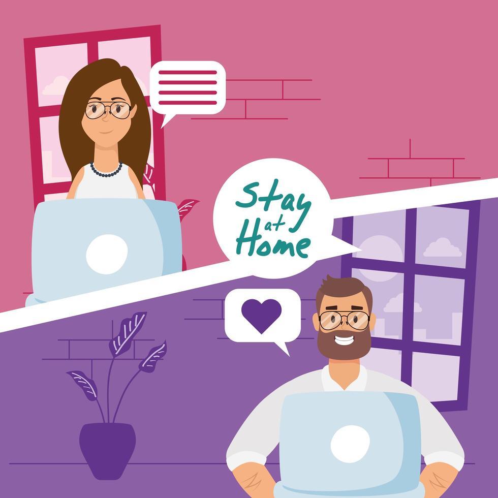 stanna hemma kampanj med människor på ett videosamtal vektor