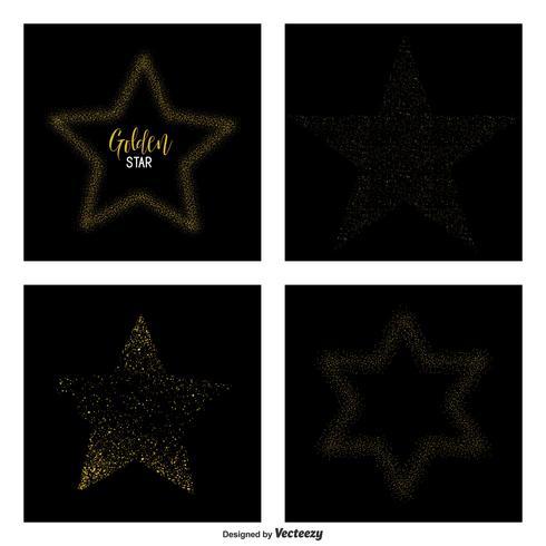 Gold Glittering Star Dust Vector Stjärnor
