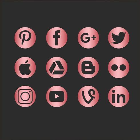 Vektor-Social Media-Ikonen-Set vektor