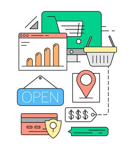 Lineare Online-Shopping-Vektor-Illustration vektor