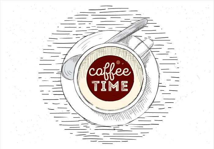 Freie Hand gezeichnete Vektor-Tasse Kaffee-Illustration vektor