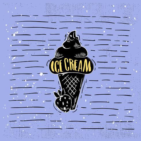 Handdragen Vector Ice Cream Illustration