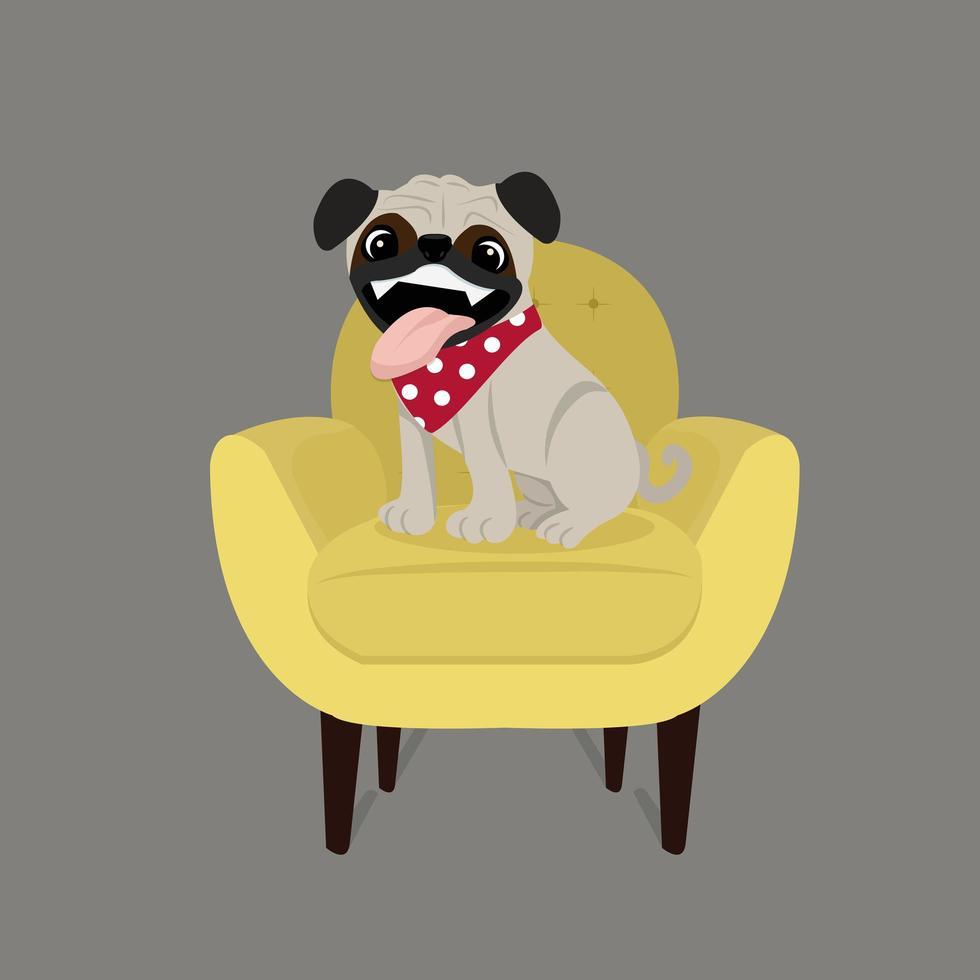 glad mops hund på en stol vektor