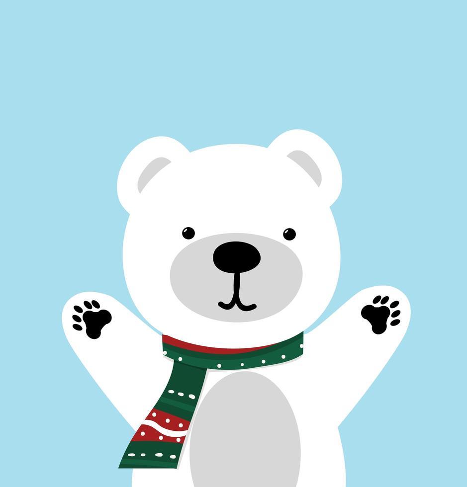 söt isbjörn med en halsduk och upp armarna vektor