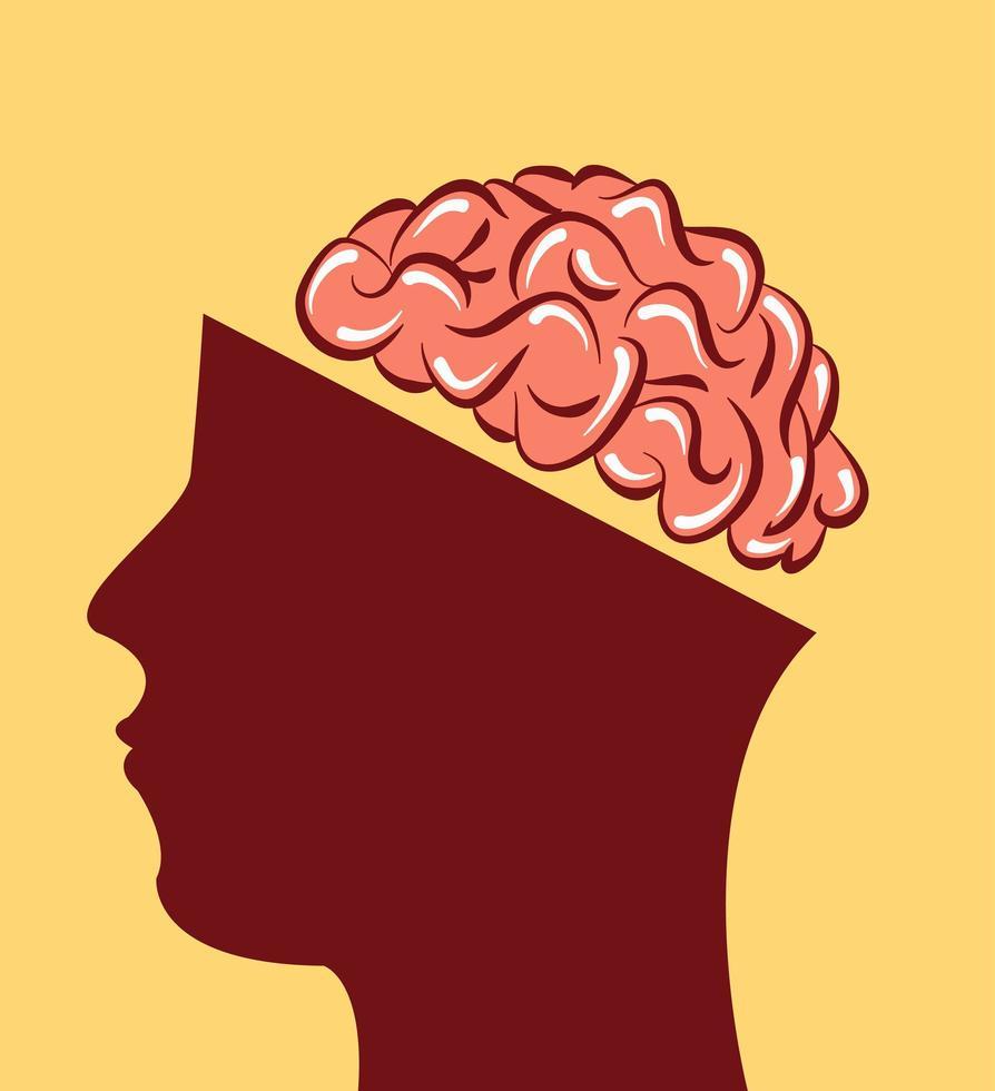 menschliches Gesicht im Profil mit freiliegendem Gehirn vektor