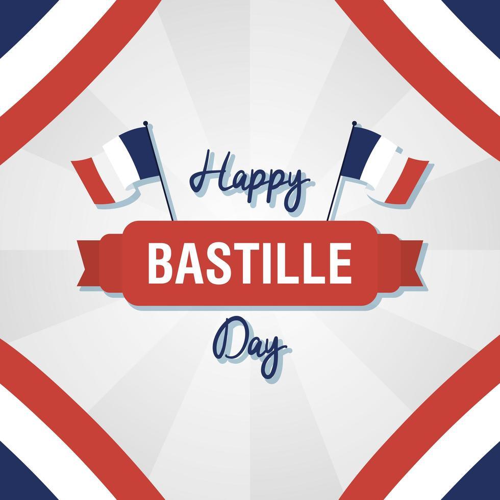bastille dag firande kort set med franska ikoner vektor