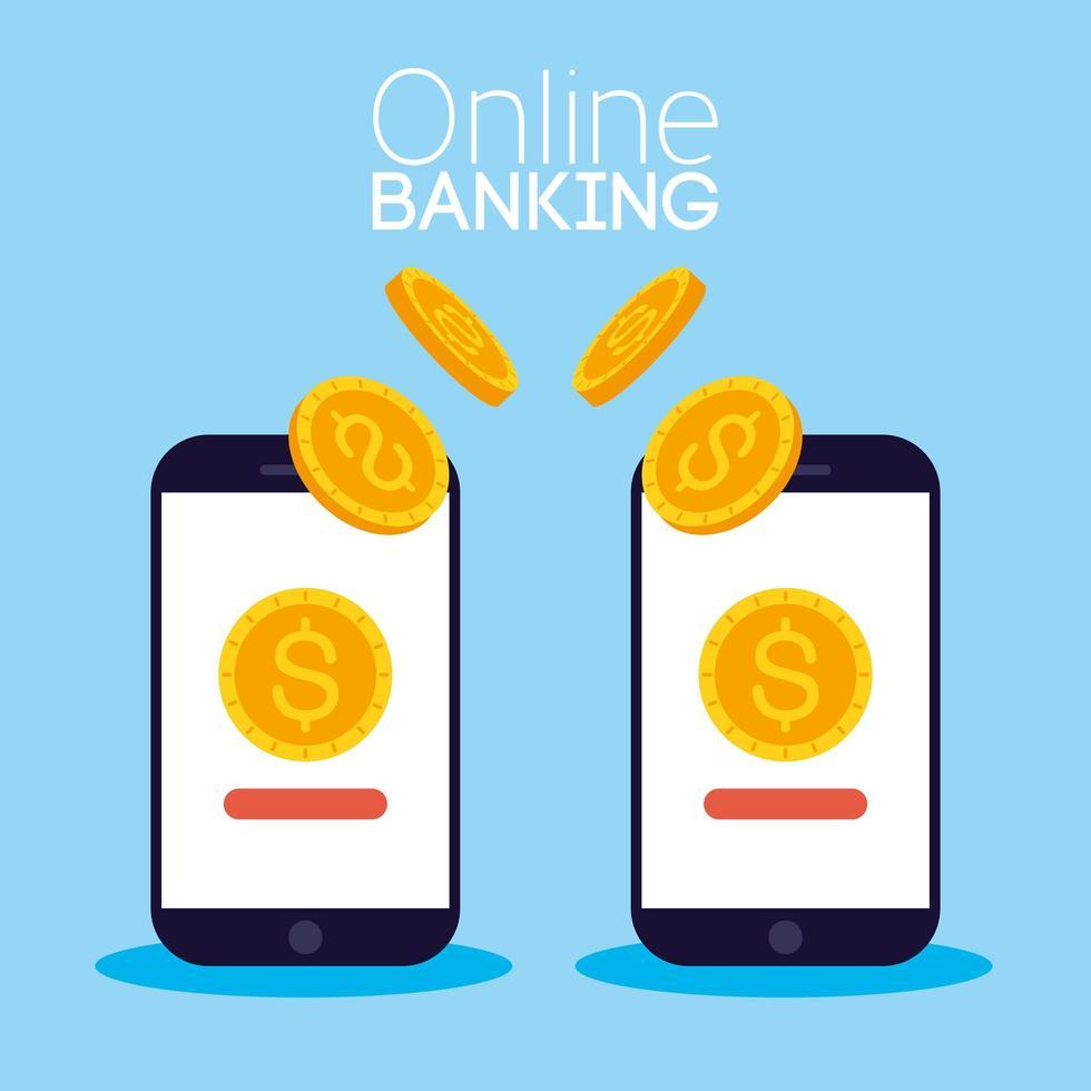 Online-Banking-Technologie mit Desktop-Smartphones vektor