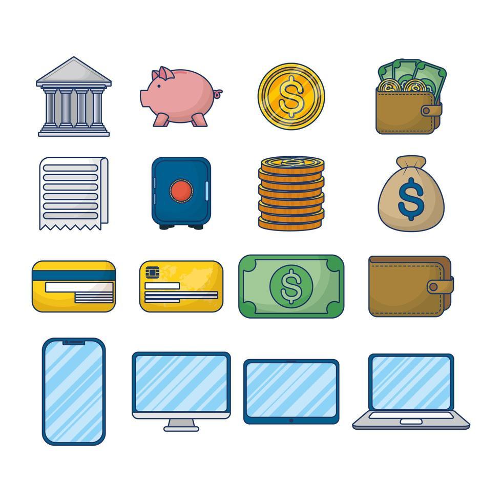 pengar och ekonomi teknik ikonuppsättning vektor