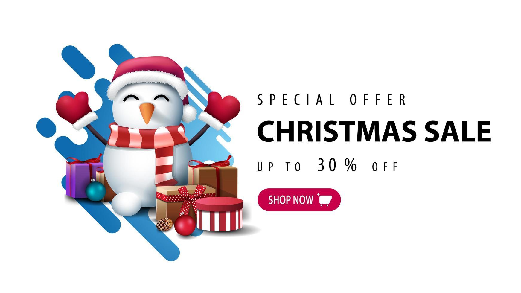 banner med snögubbe i jultomten hatt med gåvor vektor