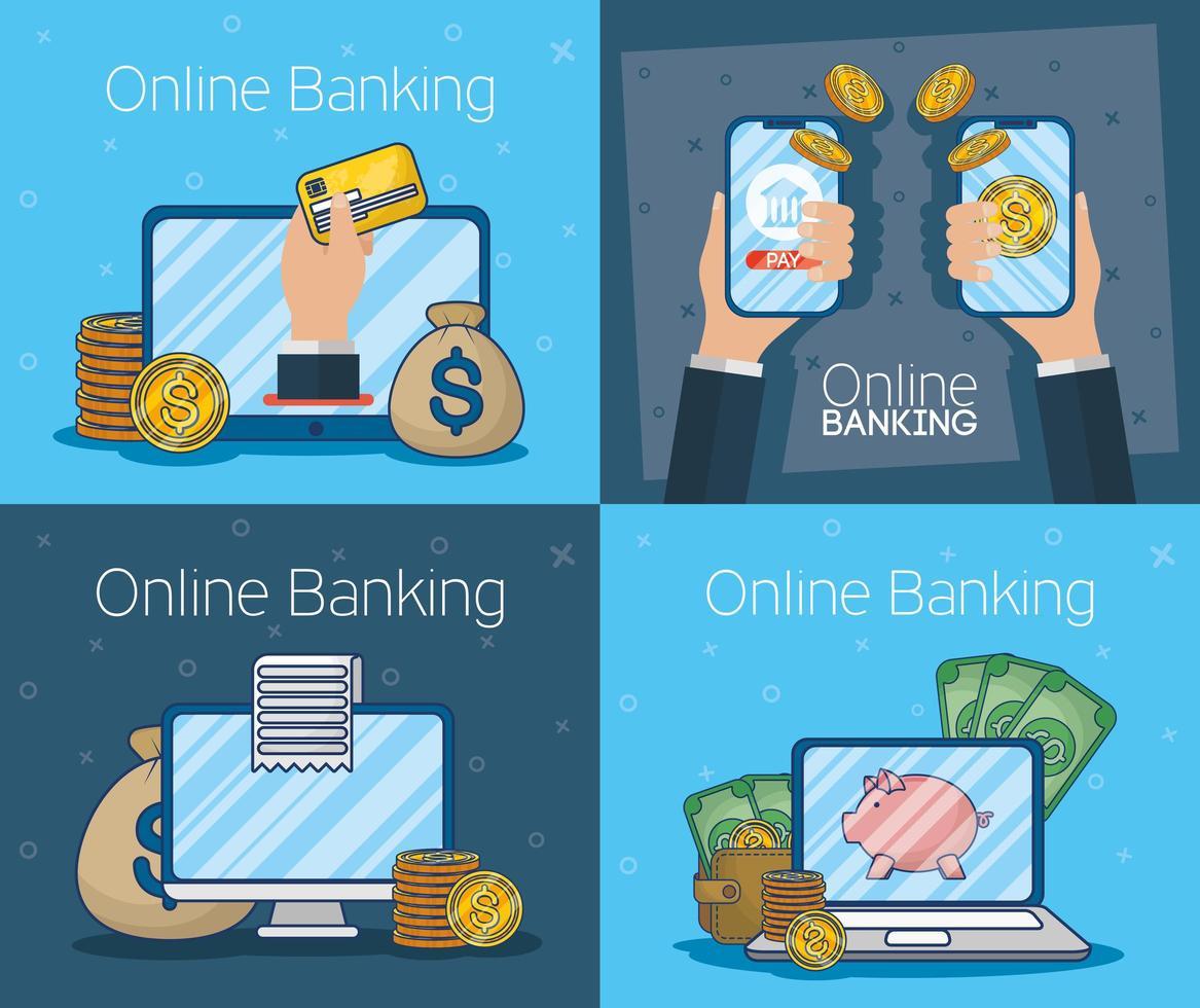 internetbankteknik med elektroniska enheter vektor