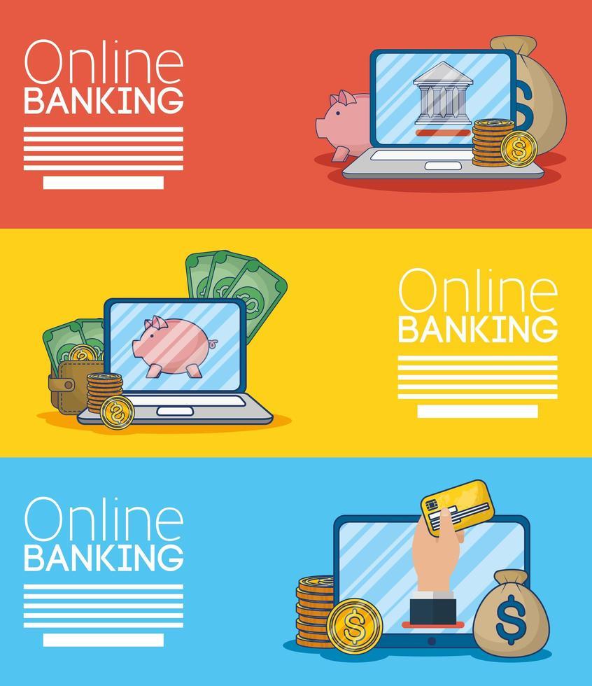 online bankteknik banner med elektroniska enheter vektor