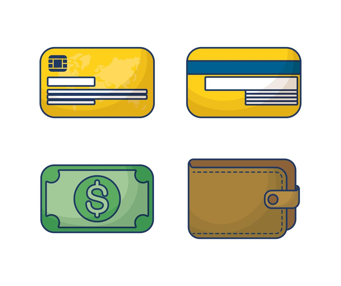 pengar och ekonomi Ikonuppsättning vektor