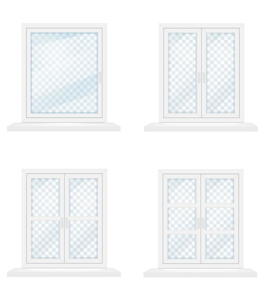 weißes transparentes Glasfensterset vektor