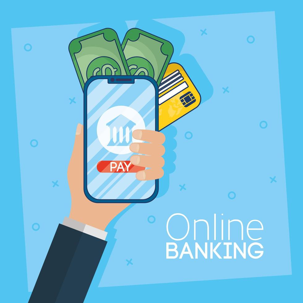 Online-Banking-Technologie mit Smartphone vektor