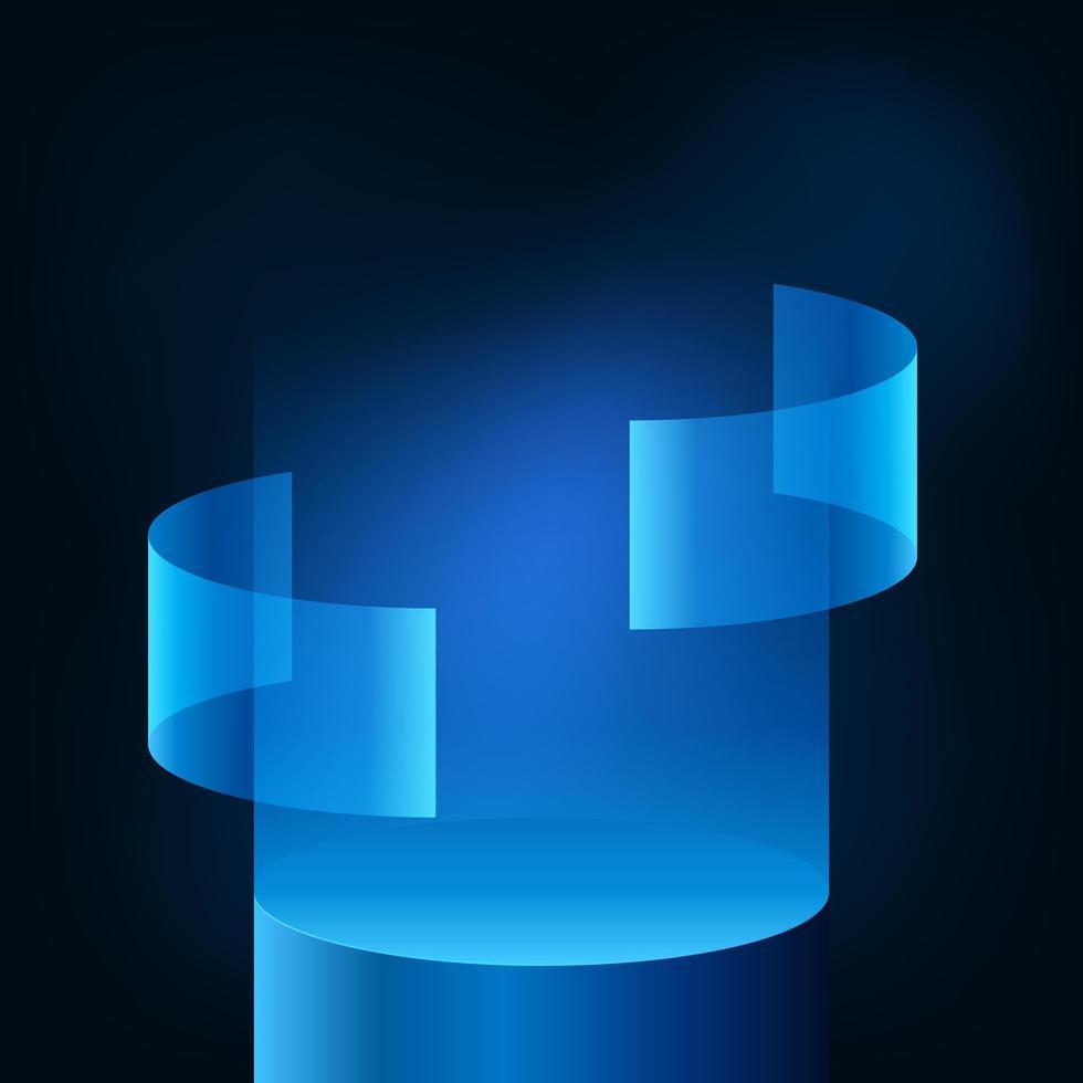 moderne futuristische Anzeigepodestufe des Neonblau-Farbverlaufs vektor