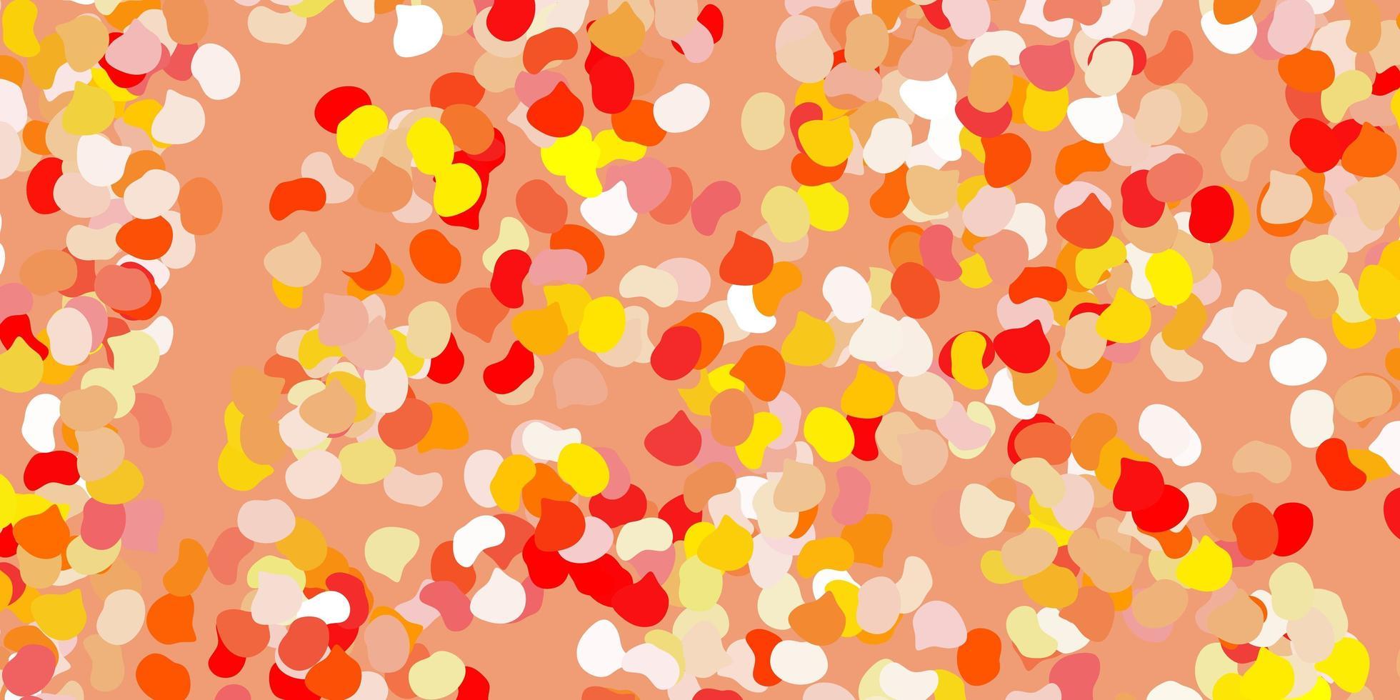 hellrotes, gelbes Muster mit abstrakten Formen. vektor