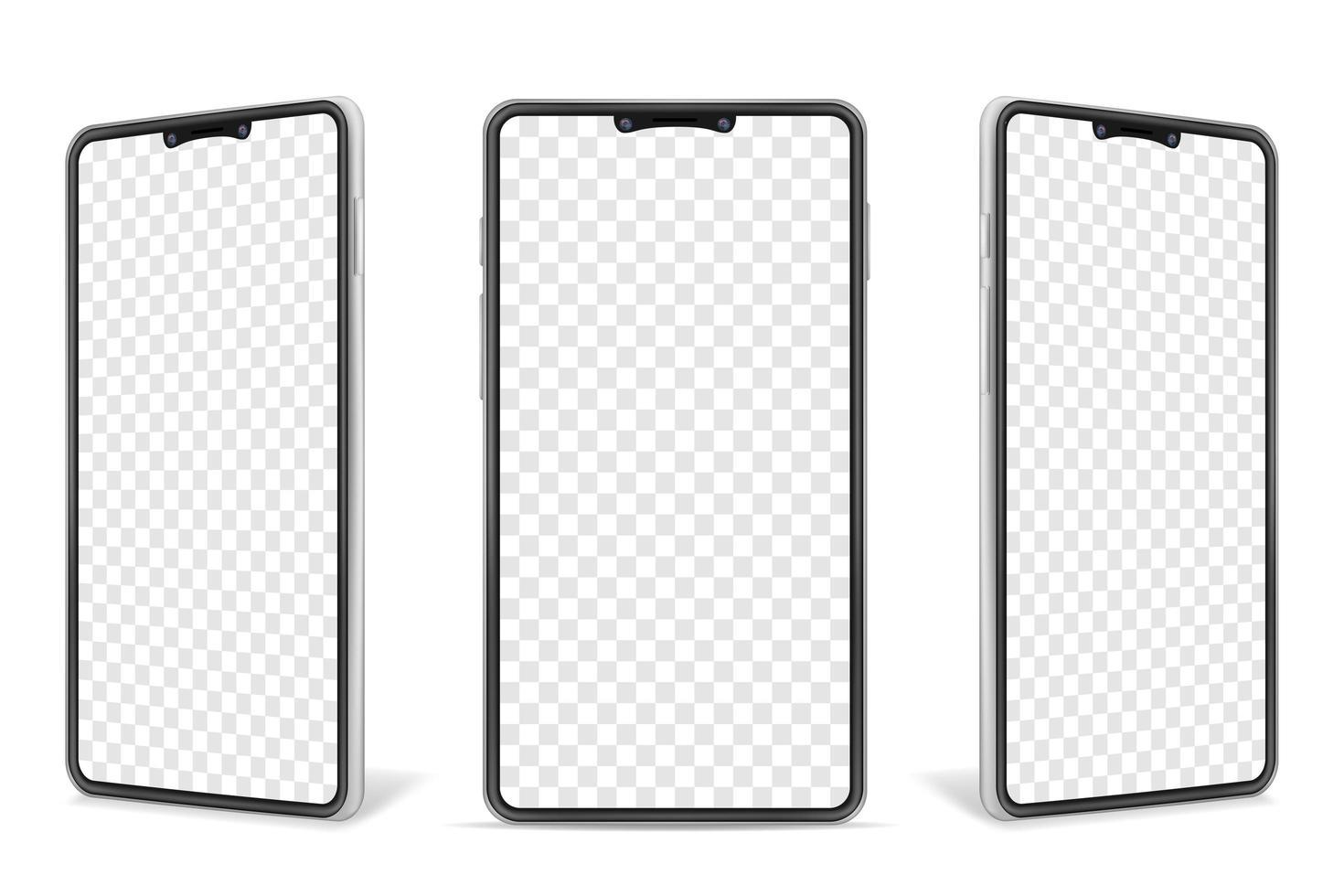 realistisk smartphone tom mock up set vektor