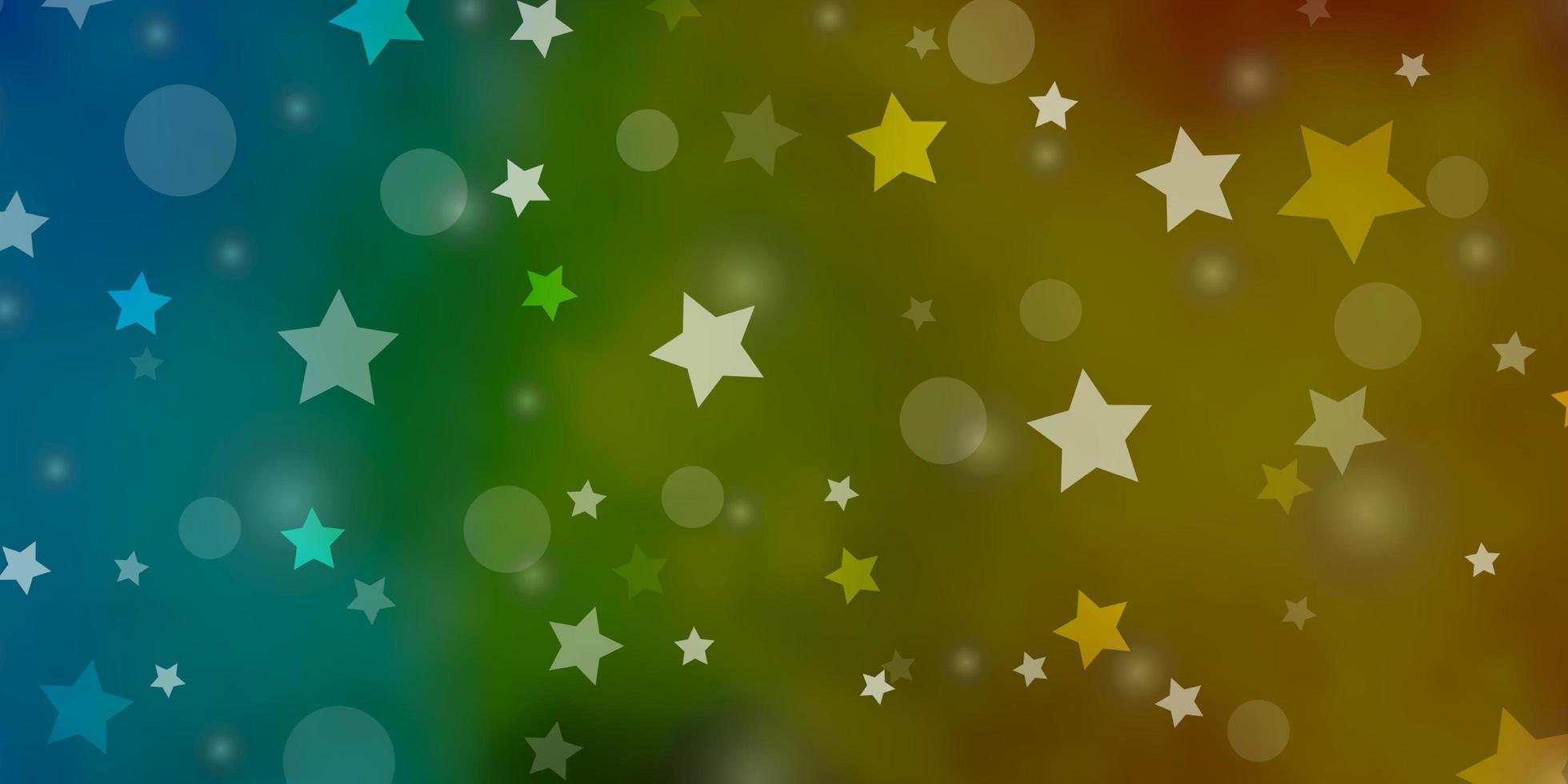 hellblaue, gelbe Textur mit Kreisen, Sternen. vektor