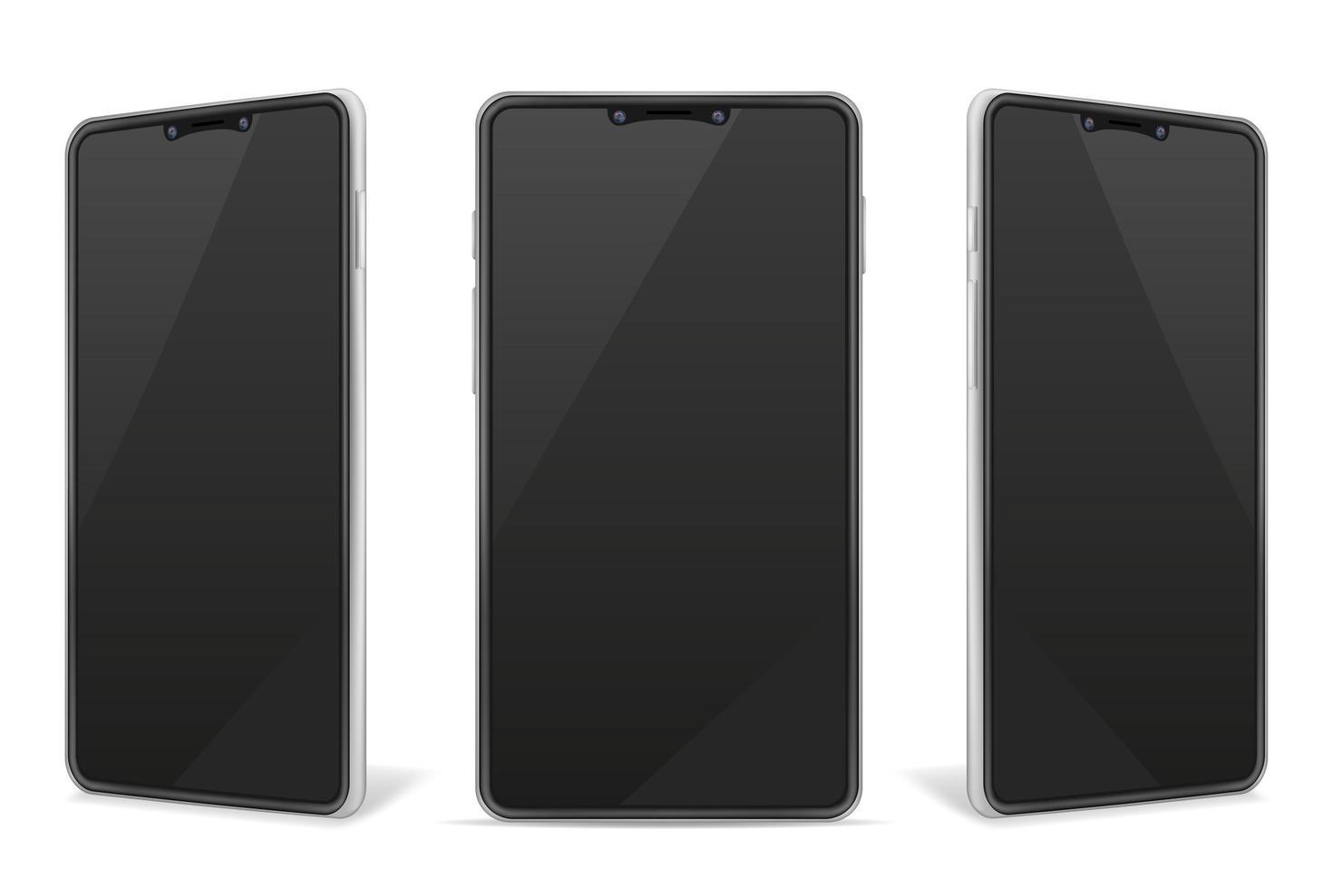realistische Smartphone leer Modell Handy-Set vektor